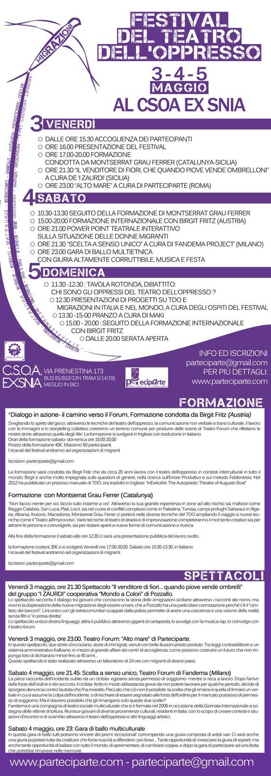 Vieni anche tu al Festival del Teatro dell'Oppresso 2013!